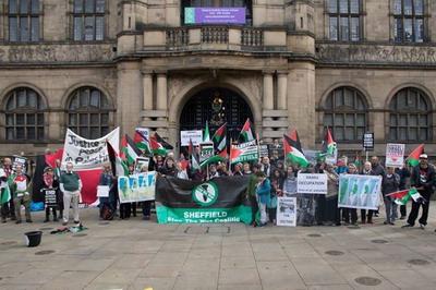 مدينة شيفيلد تعتصم نصرة للقدس واهل فلسطين