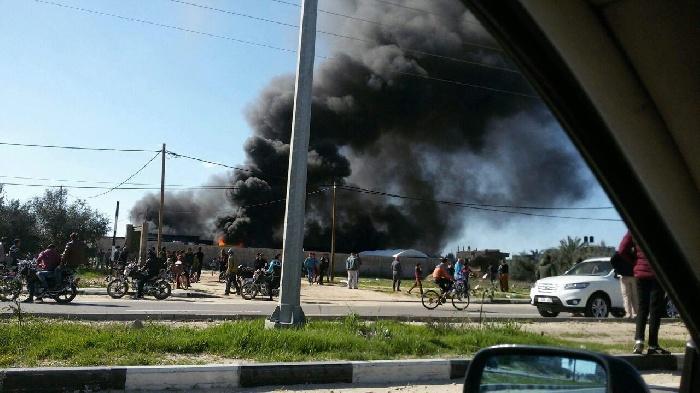 أضرار مادية نتيجة حريق في مخازن شركة الفرا