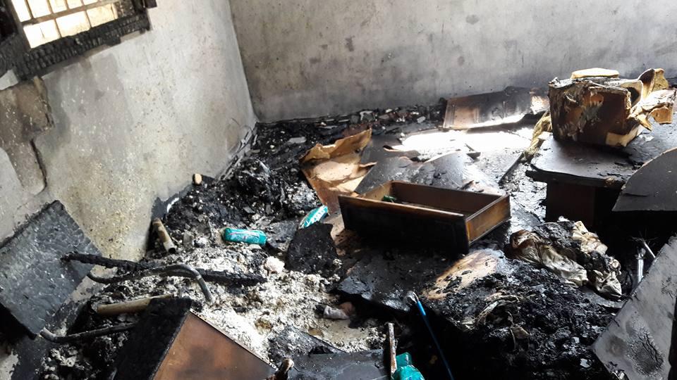 منزل السيد / أحمد عبد الرحمن نصر الله الفرا يتعرض لحريق ضخم