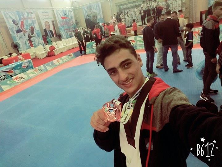 اللاعب : محمد ايمن فضل الفرا يحصد المركز الثالث على مستوى الوطن العربي ببطولة التايكوندو