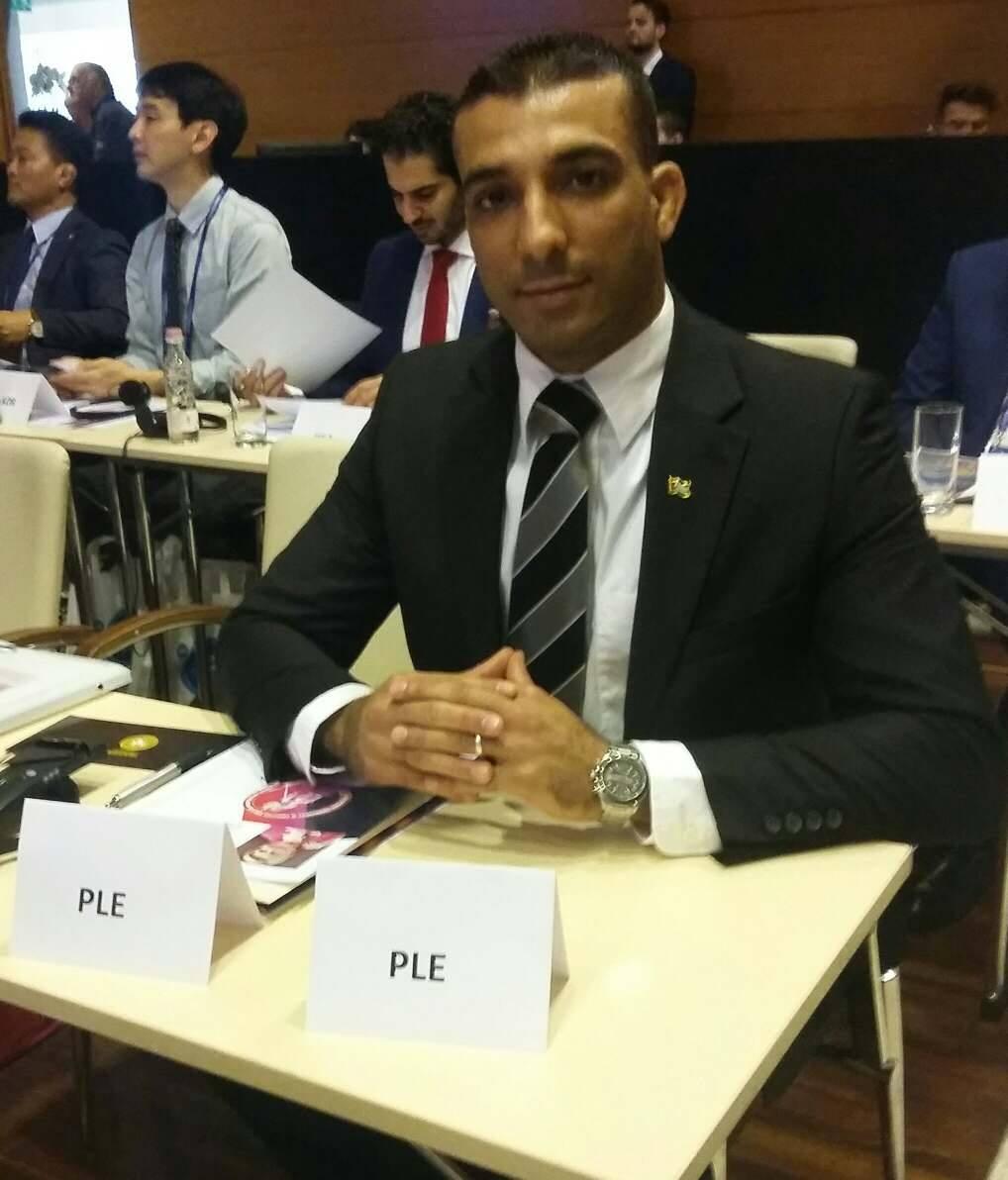 ربيع خليل يمثل فلسطين في اجتماعات الكونغرس الدولي للمصارعة الرومانية